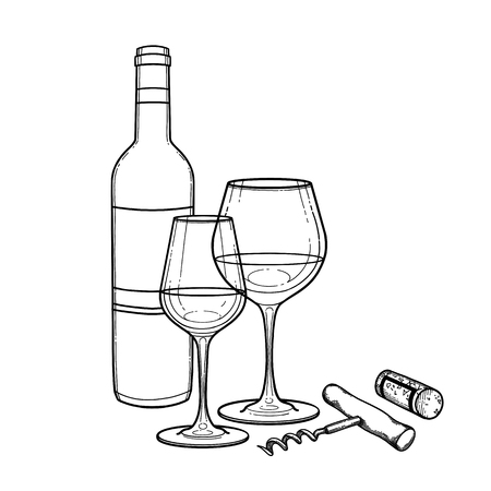 Two watercolor glasses of wine, bottle, cork and corkscrew