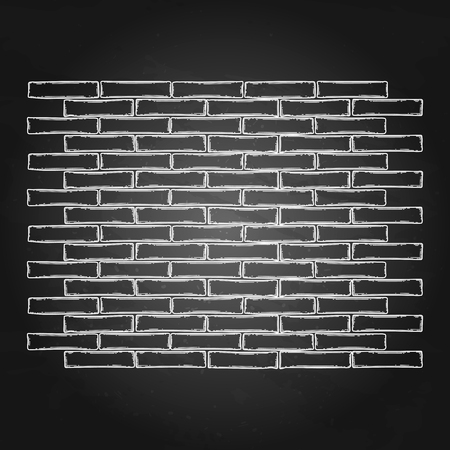 Graphic brick wall. Vector part of old building isolated on the chalkboard