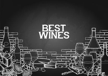Grafische Weingläser und Flaschen dekoriert mit leckerem Essen