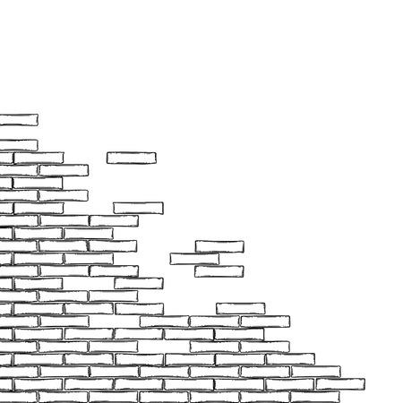 Graphic semi built or half ruined brick wall. Vector corner design isolated on white background Vektoros illusztráció