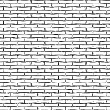 Graphic brick wall. Vector architectural seamless pattern drawn in the engraving technique