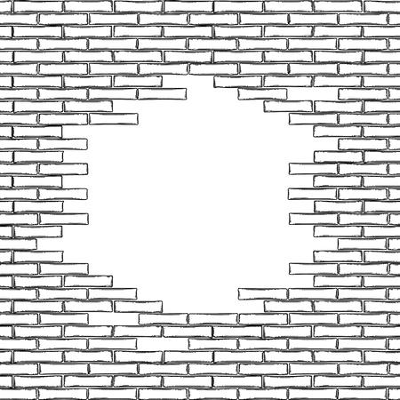 Pared de ladrillo gráfico con agujero perforado de forma circular. Diseño arquitectónico vectorial. Se puede combinar en los bordes con patrones sin costura repetidos.