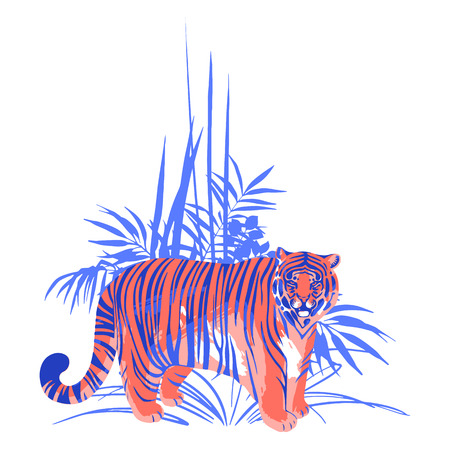 Fat tiger standing among the exotic plants. Vector illustration isolated on white background