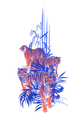 Four graphic tigers standing, walking and roaring among the exotic leaves and trees. Vector art isolated on white background