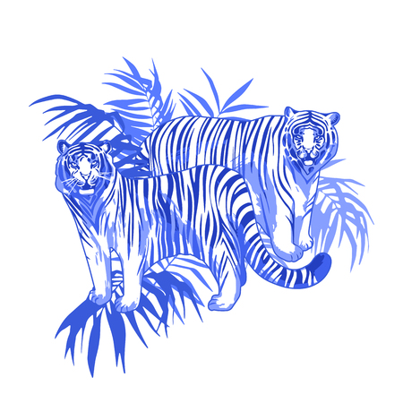 Two graphic tigers standing among the exotic leaves Stock Photo