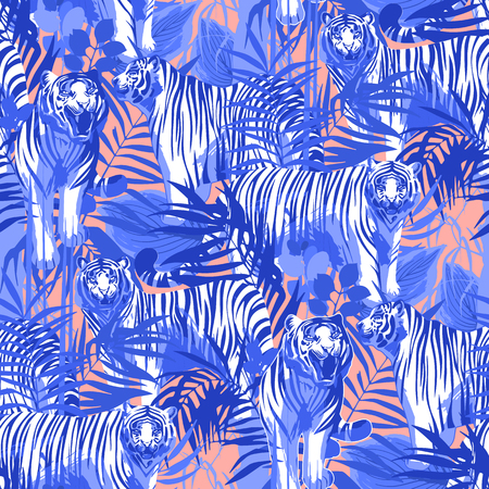 Graphic seamless patterns of tigers in different poses surrounded by exotic leaves. Vector trendy design