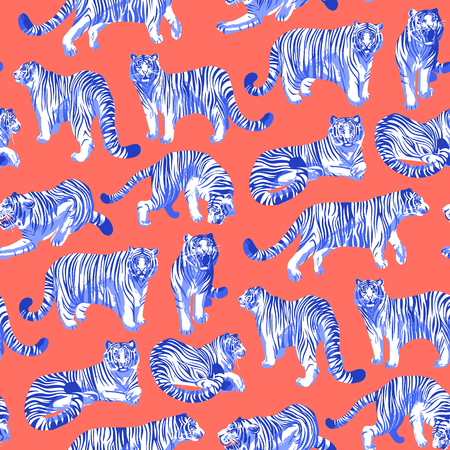 Graphic seamless pattern of tigers in different poses. Vector trendy design Standard-Bild - 114006427
