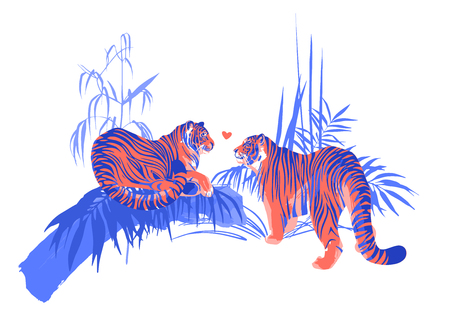 Two tigers in love looking at each other surrounded by exotic plants. Vector romantic illustration in trendy colors