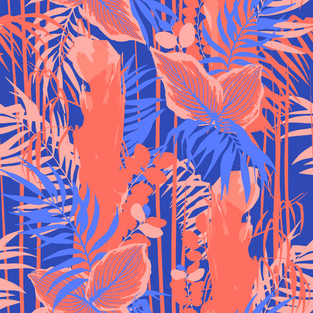 Graphic seamless pattern of exotic leaves and trees. Vector tropical design Иллюстрация