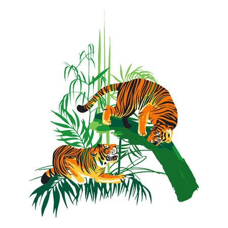 Graphic design with two aggressive fighting tigers surrounded by exotic plants. Stock Photo