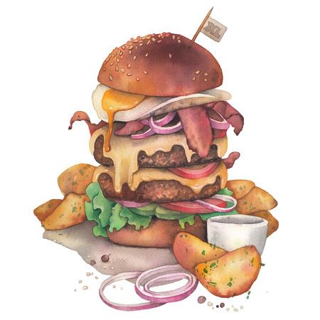 Huge watercolor burger with idaho potatoes as a garnish Stock Photo