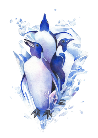 Three watercolor penguins surrounded by cracking ice blocks.