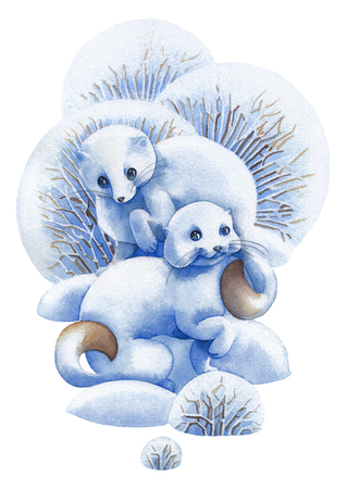 Two cute watercolor stoats surrounded by bushes and snow drifts