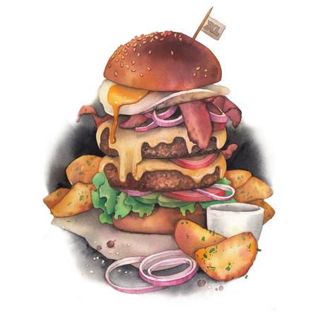 Huge watercolor burger with idaho potatoes as a garnish 版權商用圖片