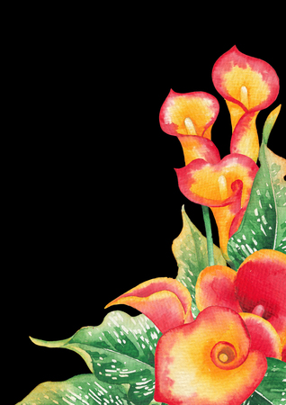 Watercolor leaves and Calla Lily flowers in yellow and red colors