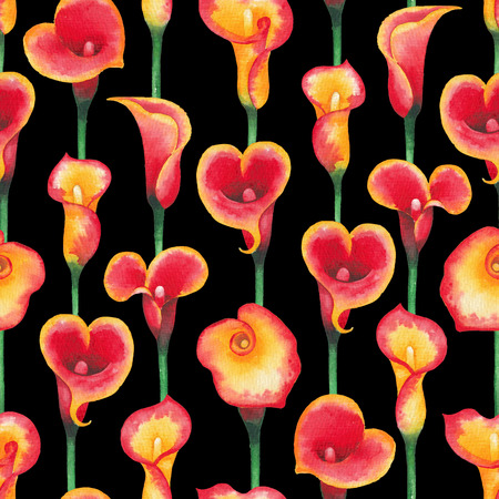 Watercolor pattern of Calla Lily flowers in yellow and red colors