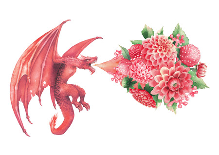 Flying watercolor dragon exhales the flame of flowers.