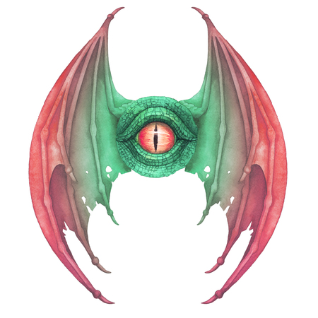 Flying dragon eye in green colors with opened wigs