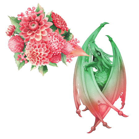 Watercolor dragon with folded wings exhales flame of flowers