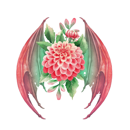 Winged watercolor dahlia flowers in red colors isolated on white background