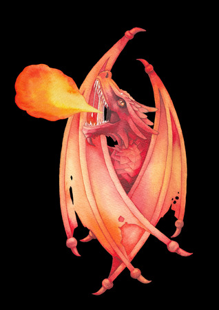 Watercolor dragon with folded wings exhales the flame of fire