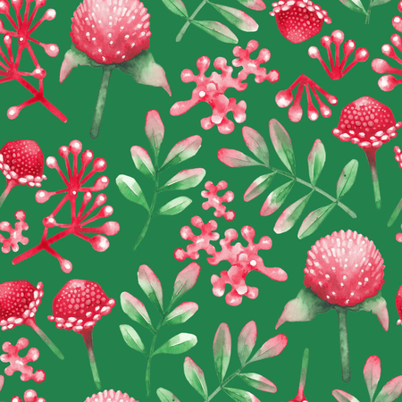 Watercolor seamless pattern of red flowers and leaves.