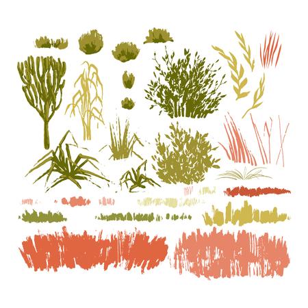 Grafische Sammlung abstrakter Fleckenpflanzen, die in der Technik des rauen Pinsels gezeichnet wurden. Vektorgras, Blätter und Büsche isoliert auf weißem Hintergrund Vektorgrafik