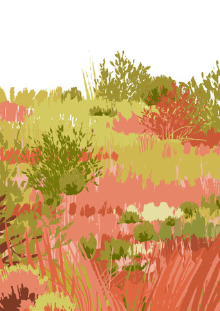 Abstract graphic steppe view drawn in the technique of rough brush. Vector landscape in calm colors 일러스트