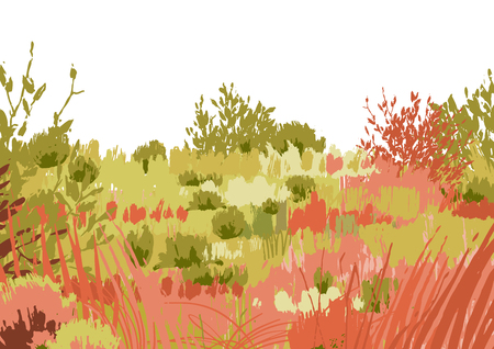 Abstract graphic steppe view drawn in the technique of rough brush. Vector landscape in calm colors 版權商用圖片 - 122546522