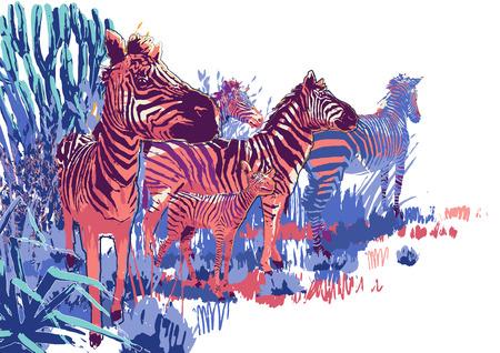 Die Zebraherde bei der Aussaat in der Steppenlandschaft Vektorgrafik