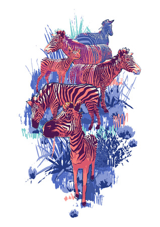 The herd of zebras sowing in steppe landscape. Vector graphics drawn in the technique of rough brush in bright colors