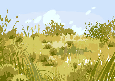 Abstract graphic steppe view drawn in the technique of rough brush. Vector landscape in calm colors Иллюстрация
