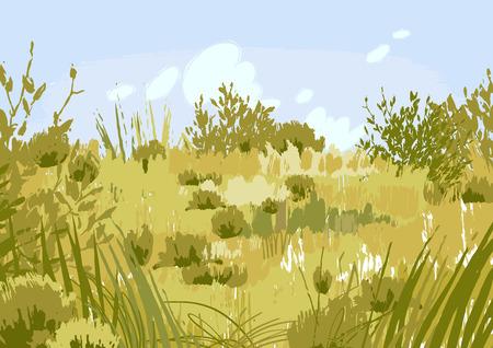 Abstrakte grafische Steppenansicht gezeichnet in der Technik des rauen Pinsels. Vektorlandschaft in ruhigen Farben Vektorgrafik