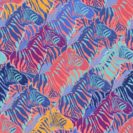 Graphic seamless repeated pattern of standing zebras drawn in the technique of rough brush in calm colors