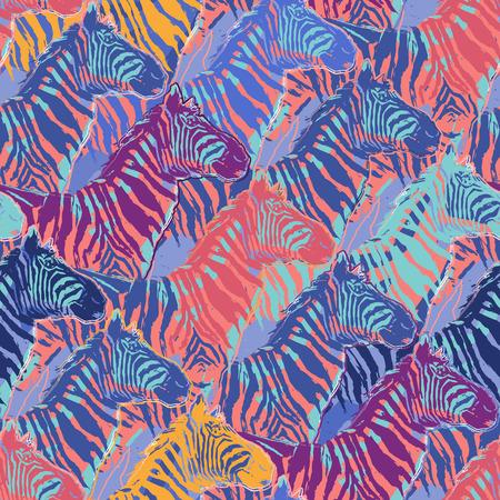 Schema grafico ripetuto senza soluzione di continuità di zebre in piedi disegnate con la tecnica del pennello ruvido in colori calmi