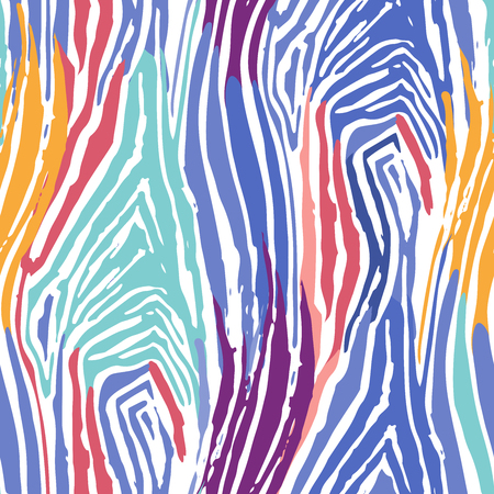 Abstract repeated seamless pattern of striped zebra skin drawn in the technique of rough brush in bright colors