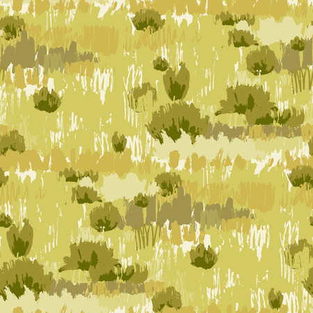 Abstract repeated patten of steppe landscape with grass and bushes drawn in the technique of rough brush.