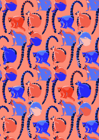 Abstract collection of wild lemurs drawn in the technique of rough brush in vibrant colors. Vector exotic seamless pattern Illusztráció
