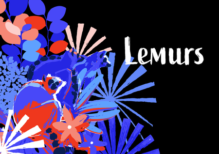 Three wild lemurs sitting among the exotic flowers. Abstract vector design drawn in the technique of rough brush in vibrant colors Stock Illustratie