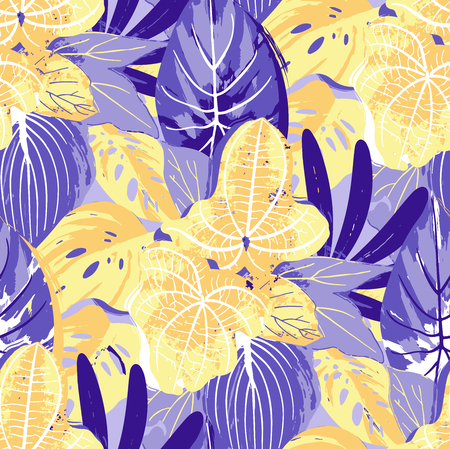 Abstract seamless pattern of exotic leaves in vivid colors. Bright vector design drawn in the technique of rough brush Stock Illustratie