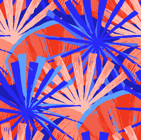 Abstract seamless pattern of exotic palm leaves in vivid colors. Bright vector design drawn in the technique of rough brush Stock Illustratie