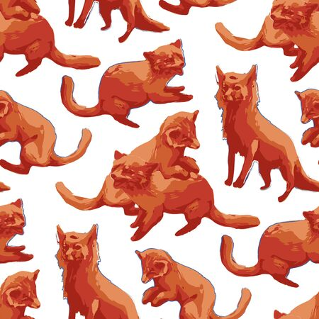 Cute orange foxes. Forest animals. Vector repeated seamless pattern drawn with rough brush in warm colors