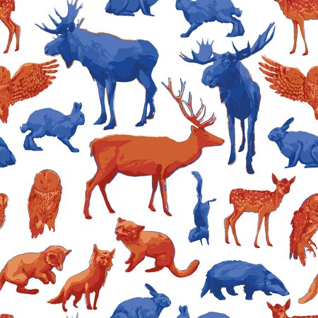 Collection of different forest animals isolated on white background. Vector repeated seamless pattern drawn with rough brush in contrast colors