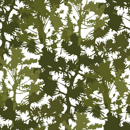 Abstract fir trees. Vector repeated seamless pattern drawn with rough brush in contrast colors Stock Illustratie