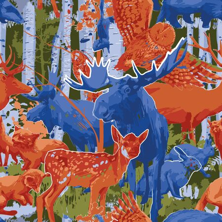 Group of different forest animals with birch trees and bushes. Vector repeated seamless pattern drawn with rough brush in contrast colors