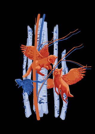 Winged forest animals flying among birch trunks. Vector fantasy illustration drawn with rough brush in contrast colors Stock Illustratie