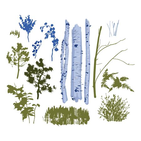 Collection of isolated plants for mixed forest lanscape. Vector set drawn with rough brush in cold colors
