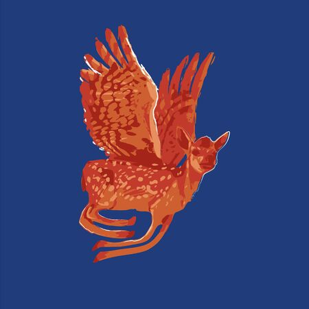 Winged baby deer flying on the blue background. Vector fantasy illustration drawn with rough brush in warm colors Stock Illustratie