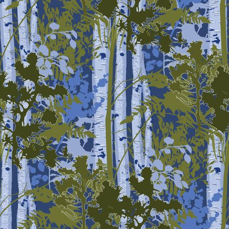 Mixed forest lanscape of fir trees, birch trees and bushes. Vector repeated seamless pattern drawn with rough brush in contrast colors