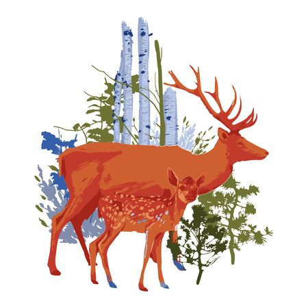 Two walking deers with forest trees and bushes on the background. Vector illustration drawn with rough brush in contrast colors
